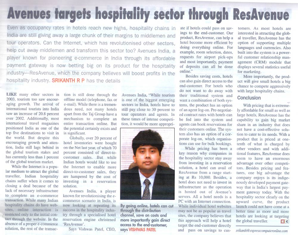 Avenues targets hospitality sector through ResAvenue - Published by Express Computer