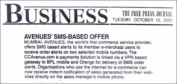 Avenues SMS based Offer - Published by Business