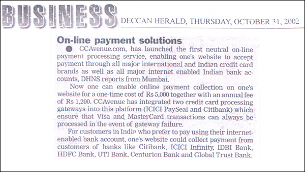 Online Payment Solutions - Published by Business Deccan Herald