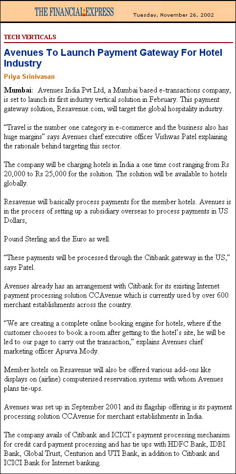 Avenues to launch payment gateway for hotel industry - Published by The Financial Express