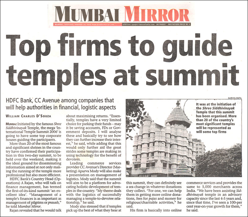 Top firms to guide temples at summit - Published by Mumbai Mirror