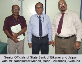 Senior Officials of State Bank of Bikaner and Jaipur with Mr. Nandkumar Menon, Head - Alliances, Avenues